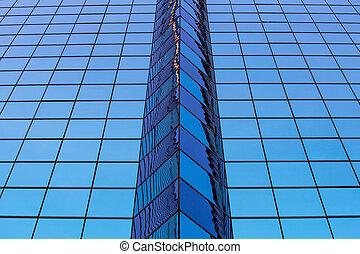 藍色, windows, 摘要, 辦公室, 玻璃
