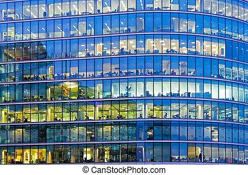 藍色, windows, 辦公室