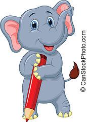 藏品, 大象, p, 漂亮, 卡通, 紅色