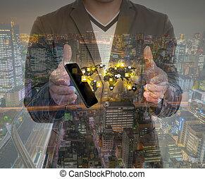 藏品, 給予, 雙, 网絡, 社會, 暴露, 電話, 手