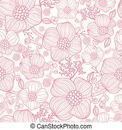 藝術, 圖案, seamless, 背景, 線, 花, 紅色