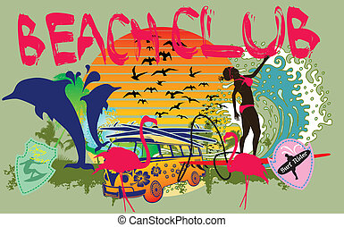 藝術, 女孩, 太平洋, 矢量, 衝浪運動員