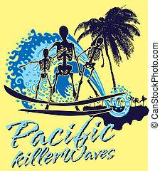 藝術, 骨骼, 太平洋, 矢量, 衝浪運動員