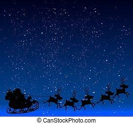 藝術, illustration., 不滿星星的, 克勞斯, 背景, 矢量, 聖誕老人, 夜晚天空