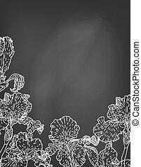 虹膜, 手, chalkboard., 畫, 花, 卡片