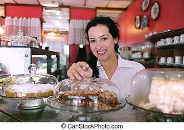 蛋糕, 她, 事務, 顯示, 所有者, 可口, 小, 商店