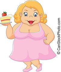 蛋糕, 婦女, 卡通, 肥胖, 藏品