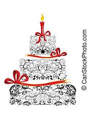 蛋糕, 生日, 植物