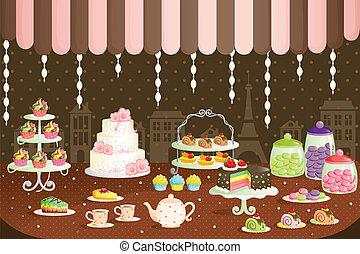 蛋糕, 顯示, 商店