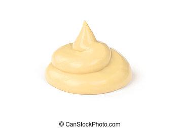 蛋黃醬, 白色, 調味汁, 被隔离, 背景