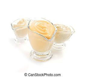 蛋黃醬, 調味汁, 白色 背景