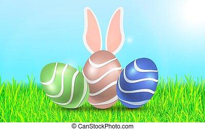 蛋, 天空, 三, 背景, 草, 復活節