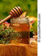 蜂蜜, 新鮮, 罐子, 毛毛雨