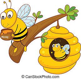 蜜糖梳子, 蜜蜂