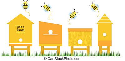 蜜蜂, 彙整, 矢量, 房子, 春天
