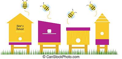 蜜蜂, 春天, 矢量, 彙整, 房子