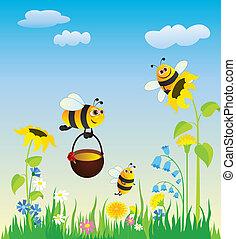 蜜蜂, 草地