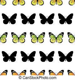 蝴蝶, 帝王, 條紋, seamless, 圖案