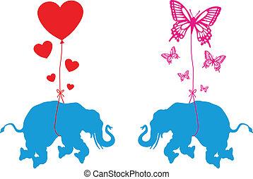 蝴蝶, 心, 大象