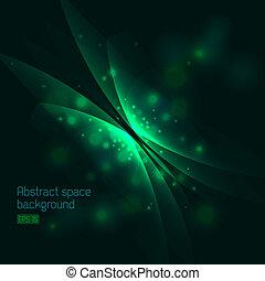 蝴蝶, 摘要, 綠色的背景, 空間