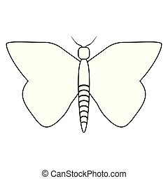 蝴蝶, 符號, 被隔离, 黑色, 白色, 卡通