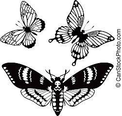 蝴蝶, 黑色半面畫像, 矢量, 集合