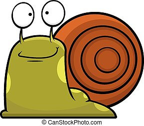 蝸牛, 卡通, 微笑