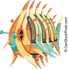 螺旋槳, robot-fish, 插圖