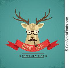 行家, 帶子, 鹿, 聖誕節, 背景