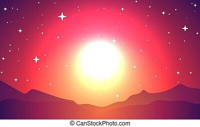 行星, 不滿星星的, 閃爍, 天空, 紅色