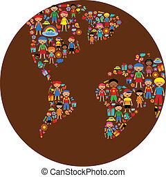 行星, 矢量, 孩子, 插圖, 鮮艷