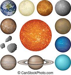 行星, 系統, 太陽, 集合, 月亮