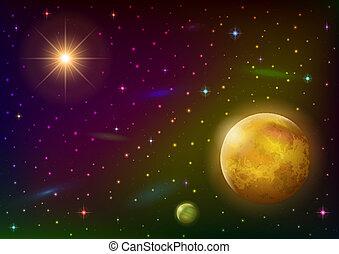 行星, 背景, 空間, 太陽