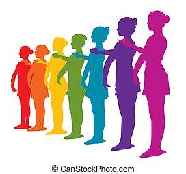 行, 彩虹, 七, 上色, 芭蕾舞女演員