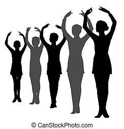 行, 站立, 舞蹈家, 芭蕾舞, 女孩, 男孩, 被提出手