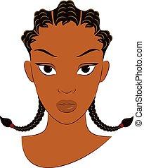 行, afro, 女孩, 玉米, 褶, 辮子