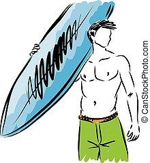 衝浪運動員, 矢量, 插圖, 人
