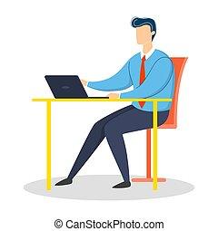 衣服, 書桌工作, 商人, 坐
