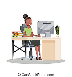 衣服, 書桌, 婦女, 工作, 坐