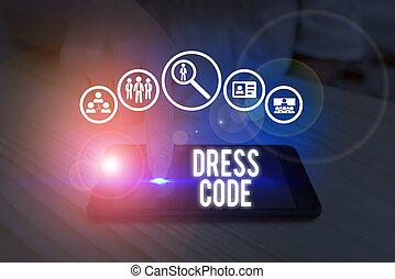 衣服, showcasing, 接受, group., 場合, code., 穿著, 相片, 筆記, 顯示, 寫, 或者, 特殊, 方式, 事務