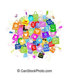 袋子, 概念, 購物, 大, 銷售, 設計, 你