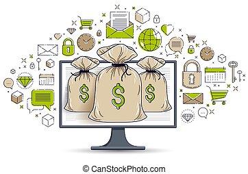 袋子, 錢, 錢, 銀行業務, 圖象, 或者, design., bookkeeping, 網際網路, 儲金, 在網上, 電子, 矢量, 概念, 集合, 監控, 在上方, 電腦
