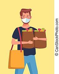 袋子, 面罩, 醫學, 年輕, 超級市場, 穿, 人