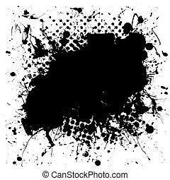 被成雜色, grunge, splat, 墨水