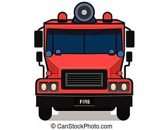 被隔离, 卡通, 白色, 卡車, 火