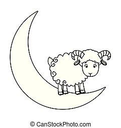 被隔离, 月亮, 黑色, 白色, 四分之一, goat, 卡通
