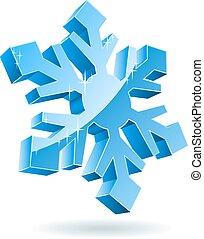 被隔离, 背景。, 矢量, 白色的雪花, 3d