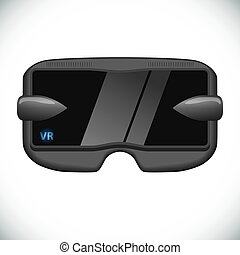 被隔离, 虛擬現實, 背景。, 白色, 眼鏡
