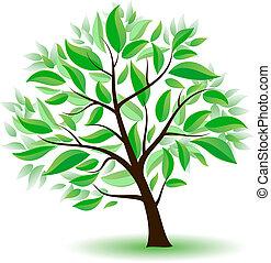 被風格化, 綠色的樹, leaves.