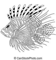 被風格化, zentangle, fish